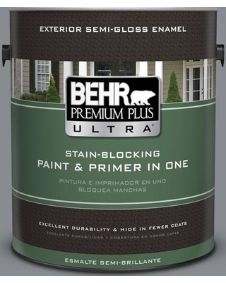 BEHR Premium Plus Ultra 1 gal. #pmd-73 Ancient Pewter Semi-Gloss Enamel Exterior Paint and Primer in One