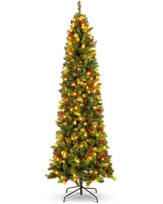 Best Choice Products 12ft Pre-Lit Pencil Christmas Tree Pre-Decorated Holiday Accent w/ 1,818 Tips, 700 Lights, Base - 12ft