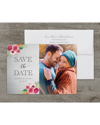 Personalized Wedding Save the Date Card - Rustic Blooms - 5 x 7 Flat Deluxe
