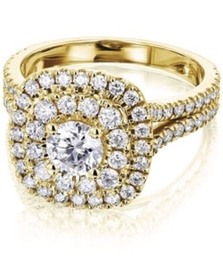 Annello by Kobelli 14k Gold 1 3/4ct TDW Multi-Diamond Double Halo Cluster Engagement Ring (5 - Yellow)