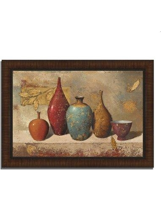 """Bloomsbury Market 'Leaves and Vessels' Framed Acrylic Painting Print W001103834 Format: Rustic Brown Framed Size: 20"""" H x 30"""" W x 1.5"""" D"""