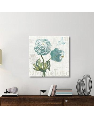 """East Urban Home 'Floral Messages on Wood I Blue' Graphic Art Print on Canvas UBAH6290 Size: 36"""" H x 36"""" W x 1.5"""" D"""