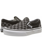 Vans Kids Classic Slip-On (Little Kid/Big Kid) ((Checkerboard) Black/Pewter) Kids Shoes