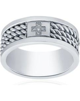 Belk & Co. Gray Cubic Zirconia Cross Twist Band Ring in Stainless Steel Ring