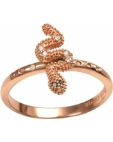 Sophie Miller 14k Rose Gold Over Silver Black and White Cubic Zirconia Snake Ring, Women's, Size: 6