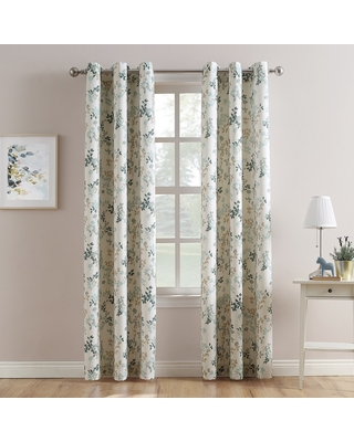 "Hariette Floral Print Casual Textured Grommet Curtain Panel Harbor 48""x95"" - No. 918"