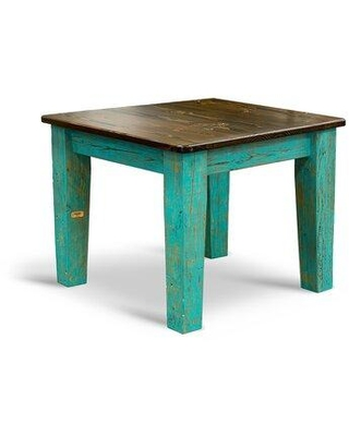 Millwood Pines Elgin Dining Table Base Color/Top, Wood in Turquoise/Ebony, Size Small (Seats up to 4)   Wayfair SQ404-31E/T