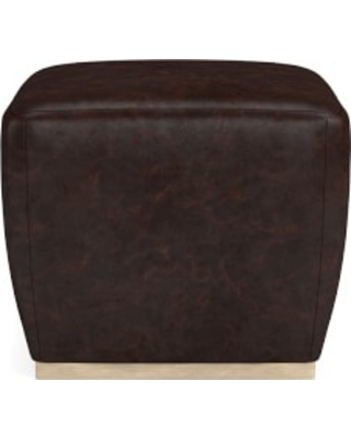 Tapered Pouf, Italian Distressed Leather, Truffle, Heritage Grey Leg