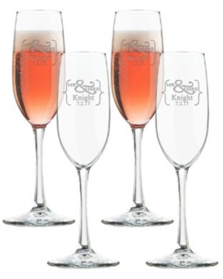 Carved Solutions Mr. & Mrs. Champagne Flutes (Set Of 4) Clear