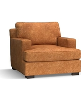 Townsend Square Arm Leather Armchair, Polyester Wrapped Cushions, Leather Statesville Caramel
