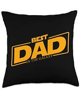 Father's Day Designs Dad-Gifts Best Dad in the Galaxy Funny Mens Father-Day Gift-Idea Throw Pillow, 18x18, Multicolor