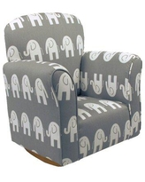 Harriet Bee Starla Child Elephant Cotton Rocking Chair Upholstered/Cotton in Gray/White, Size 23.5 H x 22.0 W x 15.5 D in | Wayfair