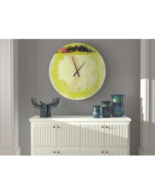 East Urban Home Rapturous Tops Oversized Abstract Art Pink Green Grey Metal Wall Clock W000920269 Size: Large