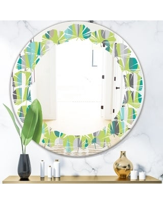 Designart 'Retro Abstract Drops VI' Modern Round or Oval Wall Mirror - Leaves (24 in. wide x 24 in. high - Round)