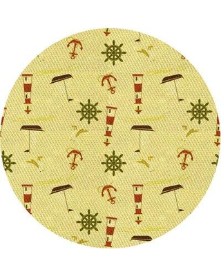 East Urban Home Wool Yellow Area Rug W000912928 Rug Size: Round 3'