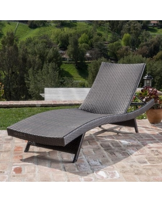 Outdoor Wicker Chaise Lounge with Aluminum Frame, Mixed Mocha