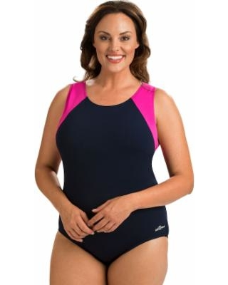 0baf9718c1 Plus Size Dolfin Moderate Colorblock One-Piece Swimsuit, Women's, Size: 16,  Blue