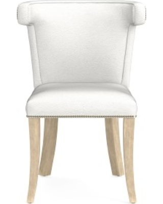 Regency Side Chair, Antique Brass, Pebbled Leather, White, Heritage Grey Leg
