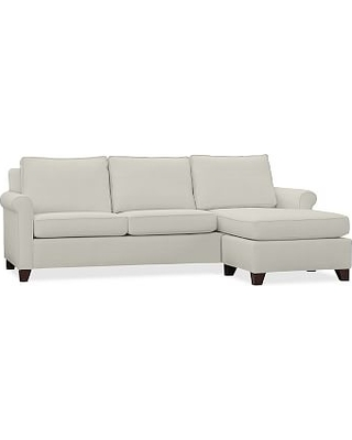 Cameron Roll Arm Upholstered Sofa with Reversible Chaise Sectional, Polyester Wrapped Cushions, Basketweave Slub Oatmeal