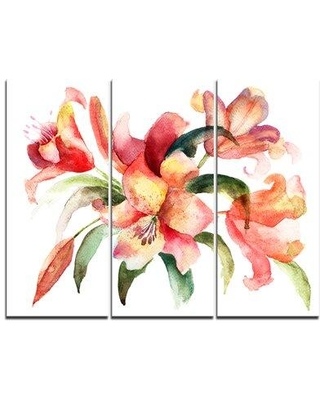 Design Art Lily Flowers Watercolor Illustration - 3 Piece Painting Print on Wrapped Canvas Set, Canvas & Fabric in Brown/Green/Pink | Wayfair