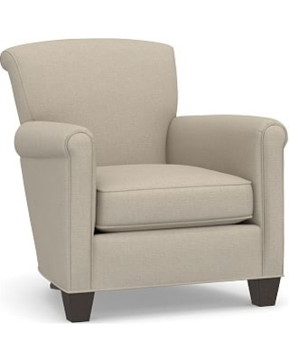 Irving Roll Arm Upholstered Armchair, Polyester Wrapped Cushions, Brushed Crossweave Natural
