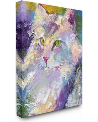 "Wrought Studio 'Brightly Colored Rainbow Cat Portrait' Graphic Art Print W000171382 Format: Wrapped Canvas Size: 40"" H x 30"" W x 1.5"" D"