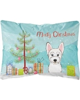 The Holiday Aisle Nobhill Christmas Tree and Westie Fabric Indoor/Outdoor Throw Pillow BI148751