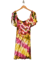 ANGIE Smocked Tie Dye Maxi Dress, Size Small in Ivory-Black at Nordstrom Rack