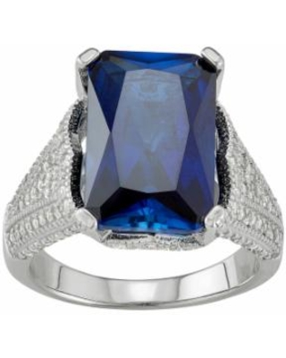 Sterling Silver Lab-Created Blue & White Sapphire Ring, Women's, Size: 8