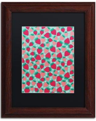 "Trademark Art 'June Strawberries' Framed Graphic Art Print ALI5543-W1 Matte Color: Black Size: 14"" H x 11"" W x 0.5"" D"