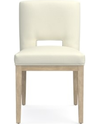 Saratoga Dining Side Chair, Belgian Linen, Oyster, Heritage Grey Leg