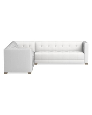 Cavallo Sectional, Right 2-Piece L-Shape Loveseat, Pebbled Leather, White, Heritage Grey Leg
