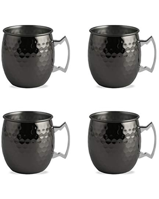 Cambridge Silversmiths Black Hammered Moscow Mule, Set of 4, 20 Ounce