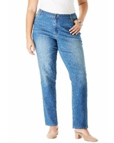 Roaman's Women's Straight-Leg Jean with Invisible Stretch by Denim 24/7 In Medium Wash (Size 28 T)