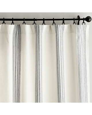 "Riviera Stripe Curtain with Blackout Liner, 50 x 108"", Charcoal"