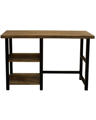 Pomona Writing Desk with Two Shelves Metal and Solid Wood Natural - Alaterre Furniture