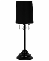 Simple Designs Table Lamp with Fabric Shade and Hanging Acrylic Beads - Black