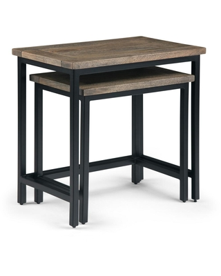 Brooklyn + Max Glenna Solid Mango Wood and Metal 25 inch Wide Industrial 2 Pc Nesting Side Table in Beach Brown, Fully Assembled