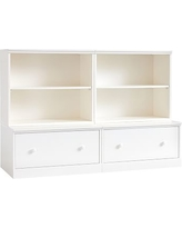 Cameron 2 Bookcase Cubby and 2 Drawer Base, Simply White