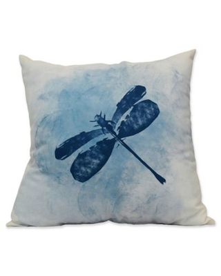 E by Design Dragonfly Summer Animal Print Square Throw Pillow