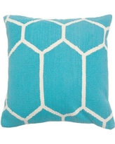 India's Heritage Cotton Woven Throw Pillow INHR1381 Color: Turquoise