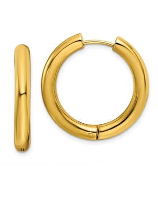 Chisel Stainless Steel Polished Yellow IP-plated 4mm Hinged Hoop Earrings (White)