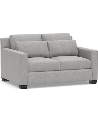 "York Square Arm Deep Seat Upholstered Loveseat 60"", Down Blend Wrapped Cushions, Sunbrella(R) Performance Chenille Fog"