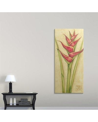 """Great Big Canvas 'Red Heliconia' Jennifer Goldberger Painting Print 1120320_1_ Size: 72"""" H x 32"""" W x 1.5"""" D Format: Canvas"""