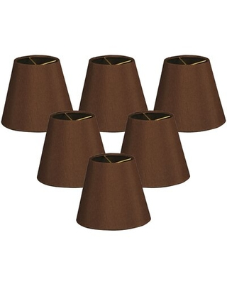 """Silk/Shantung Empire Lamp shade ( Clip on ) Alcott Hill® Color: Brown, Size: 5.5"""" H x 6"""" W x 6"""" D"""