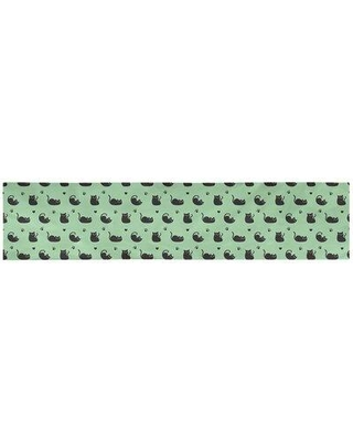 """Latitude Run Avicia Cat Table Runner W000017134 Material: Polyester Size: 91.5"""" x 17.5"""" Color: Green"""
