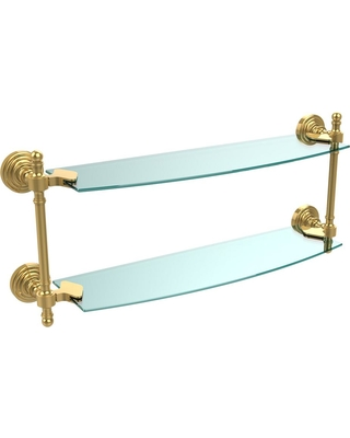 Allied Brass Retro Wave Collection 18 in. Two Tiered Glass Shelf in Polished Brass