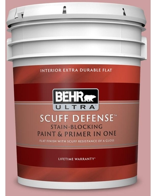 BEHR ULTRA 5 gal. #150E-3 Calico Rose Extra Durable Flat Interior Paint & Primer