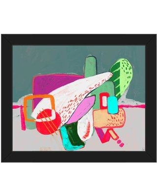 """Click Wall Art Abstract Playground Magenta Framed Painting Print on Canvas ABS0011837FRA Format: Black Framed Size: 18.5"""" H x 22.5"""" W"""