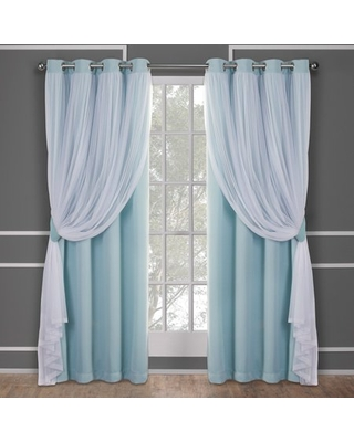 Exclusive Home Curtains Catarina Layered Solid Room Darkening Blackout and Sheer Grommet Top Curtain Panel Pair, 52x108, Aqua